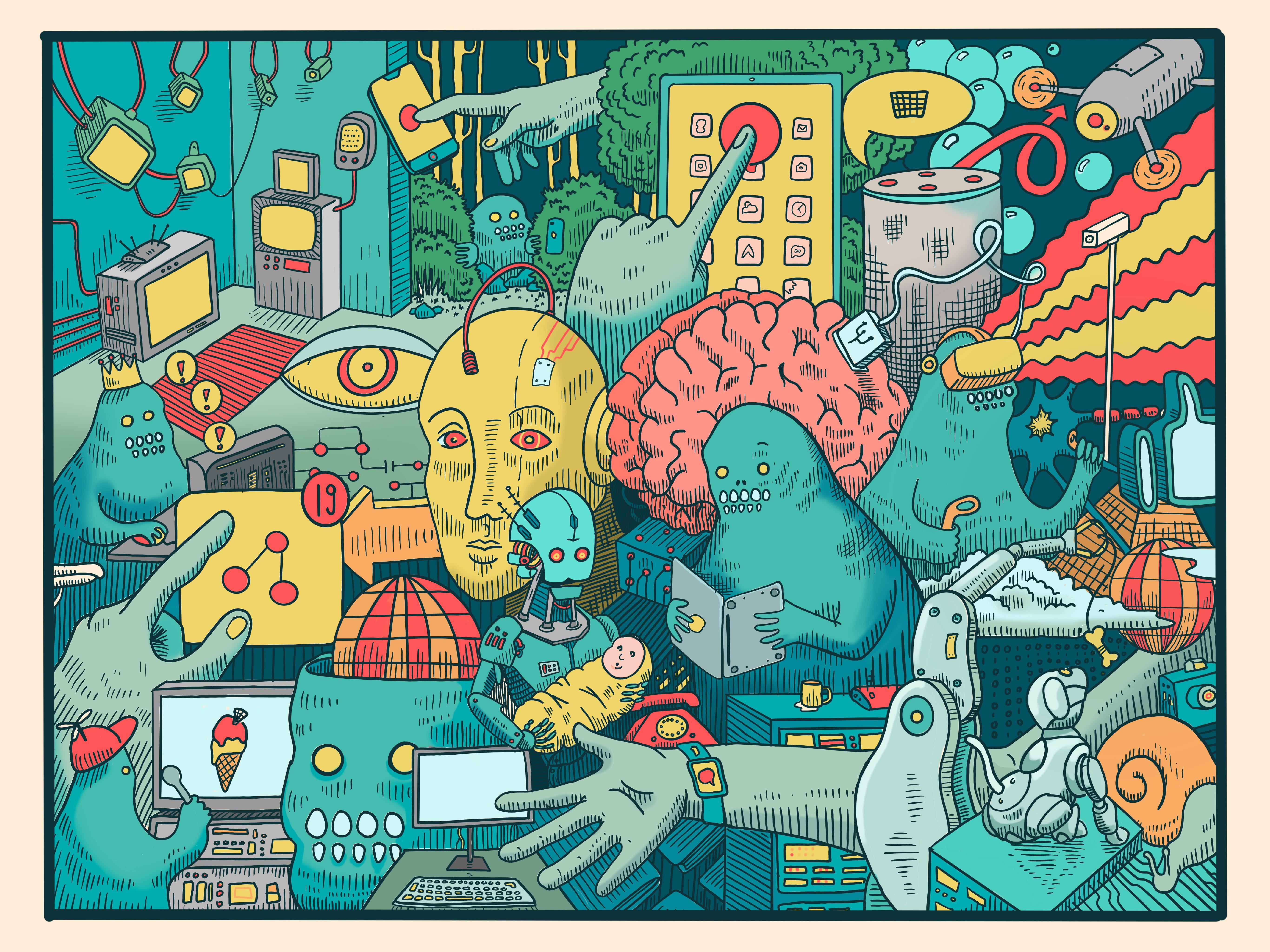 "Illustration of the ""phygital world"" for Liganova, Live Drawing Event, June 2019"